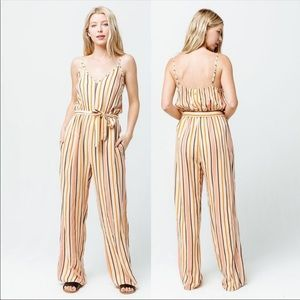 Roxy Cha Cha For Now Striped Jumpsuit Sz S